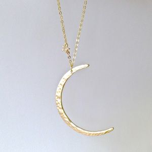 Hammered Gold Crescent Moon Pendant Necklace
